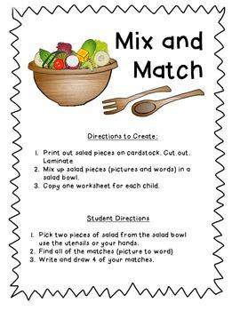 Mix and Match - a CVC short i word matching game