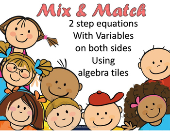 Mix and Match solving 2 step equations with variables on both sides with models