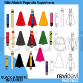 Mix and match Popcicle Superhero Clip Art