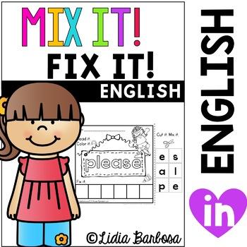 Mix it! Fix it! Kinder Sight Words {dolch list}