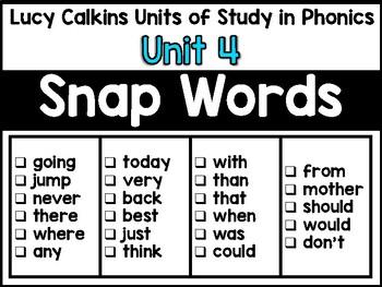 Mix n' Fix:  Lucy Calkins Phonics Unit 4 Snap / Sight Words Center