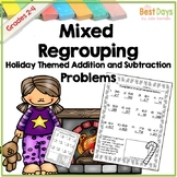 Christmas Math Mixed Regrouping 2 Digit Addition and Subtraction