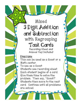 Mixed 3 Digit Addition and Subtraction Task Cards