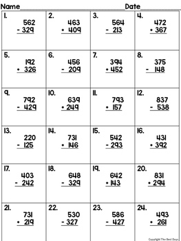 mixed regrouping 3 digit addition and subtraction scoot tpt. Black Bedroom Furniture Sets. Home Design Ideas
