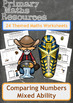 Mixed Ability Comparing Numbers Worksheets with Themed Wor