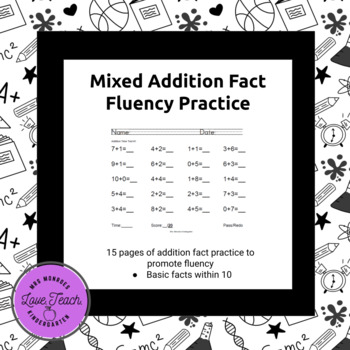 Mixed Addition Facts to 10 (Timed Tests)