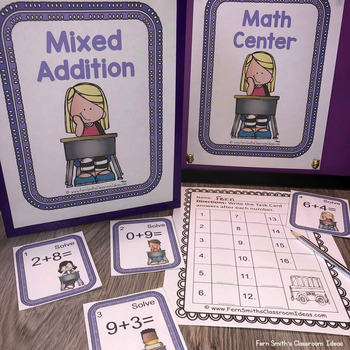 Mixed Addition We Love School Themed Task Cards and Printables