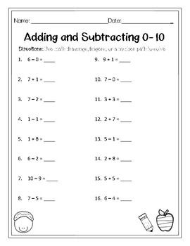 Mixed Addition and Subtraction 0-10 Worksheet