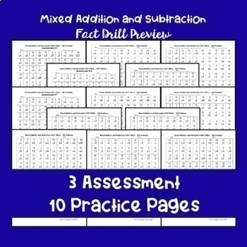 Mixed Addition and Subtraction Fact Drills - 100 Problems Each