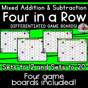 Mixed Addition and Subtraction Game: Four in a Row [[Differentiated]]