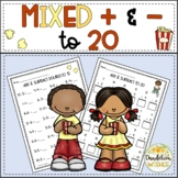 Mixed Addition and Subtraction Math Facts to 20 Worksheets