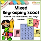 Mixed Regrouping 2 and 3 Digit Addition and Subtraction Scoot: School Themed!