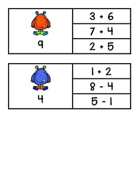Mixed Addition and Subtraction -Up to 10- Pinch Cards {Monster Theme}