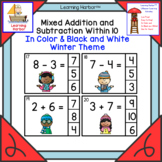 Mixed Addition and Subtraction Winter Task Cards Lifesaver Learning Activity