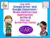 Mixed Addition and Subtraction Within 10 Kids and Butterfl