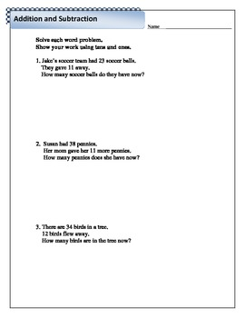 Mixed Addition and Subtraction Word Problems 2 - 2.NBT.5