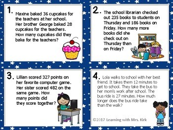 Mixed Addition and Subtraction Word Problems Task Cards
