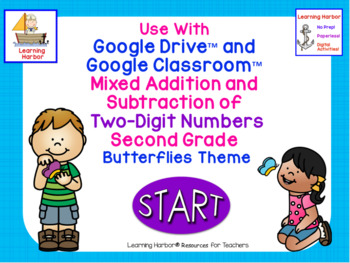 Mixed Addition and Subtraction of 2 Digit Numbers 2nd Grade Butterflies Theme