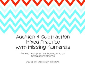 Mixed Addition and Subtraction with missing numerals Printables