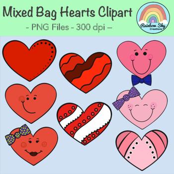 Mixed Bag of Hearts Clipart