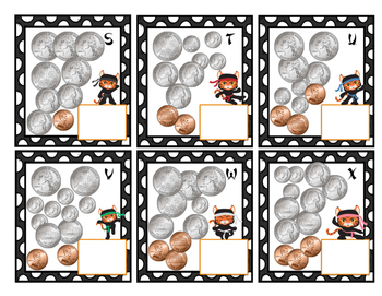 Mixed Coin Count in 1 Dollar and 2 Dollars Task Cards