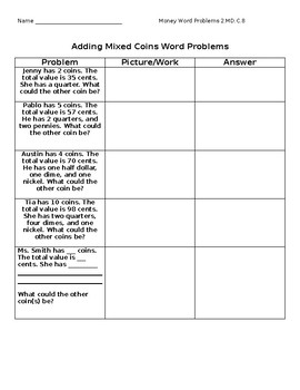 Mixed Coins Word Problems