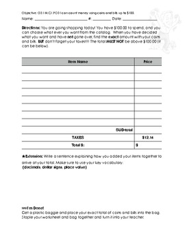Mixed Coins and Bills Money Worksheet