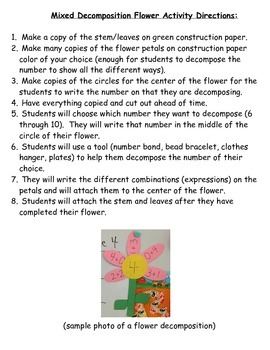 Decomposing Numbers Flower Activity