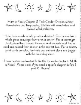 Mixed Division Task Cards: Math in Focus Chp 8 Review 3rd Grade