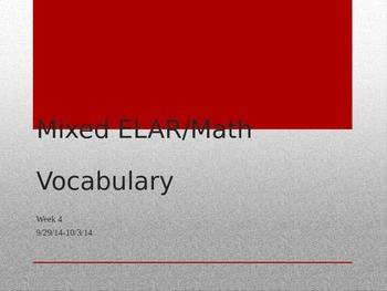 3rd Grade Mixed ELAR/Math Vocabulary Power Point Week 4