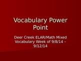 3rd Grade Mixed ELAR/Math Vocabulary Power Point Week 1
