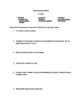3rd grade Mixed ELAR/Math Vocabulary Test Week 6
