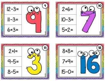 Mixed Equations Chip it Cards {Addition and Subtraction}