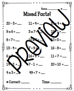 Mixed Facts Fact Fluency Quizzes