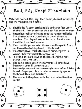 Mixed Fractions: Roll, Say, Keep!