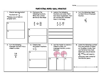 Mixed Fractions Skills (some more!)