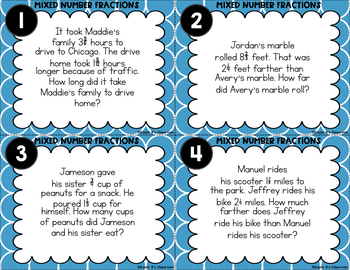 Mixed Fractions Task Cards: Word Problems