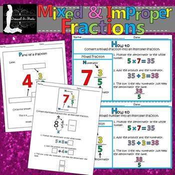 Mixed & Improper Fractions Packet