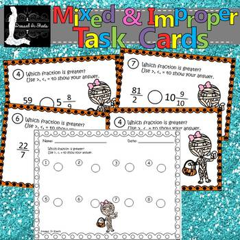 Mixed & Improper Fractions Task Cards