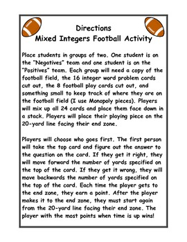 Add, Subtract, Multiply, and Divide Integers Football Activity Game