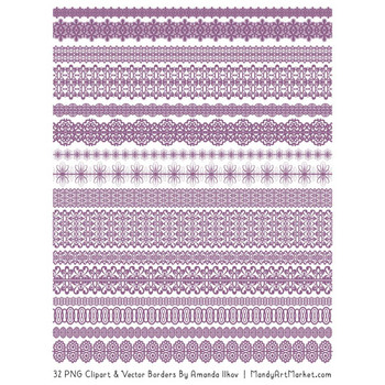 Mixed Lace Clipart Borders in Amethyst