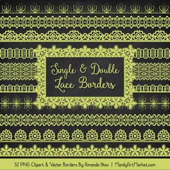 Mixed Lace Clipart Borders in Bamboo