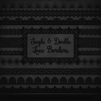Mixed Lace Clipart Borders in Black