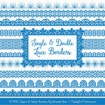 Mixed Lace Clipart Borders in Blue