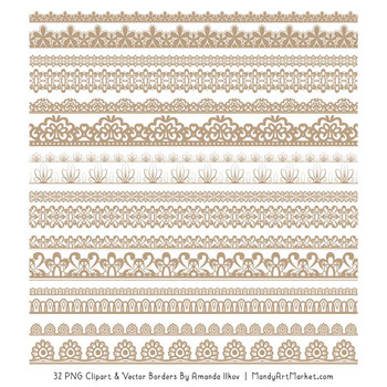 Mixed Lace Clipart Borders in Champagne