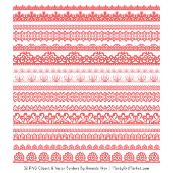 Mixed Lace Clipart Borders in Coral