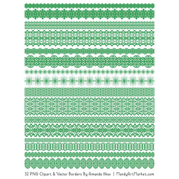 Mixed Lace Clipart Borders in Green