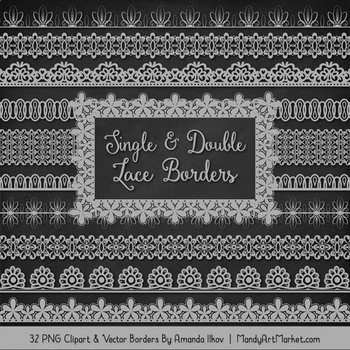 Mixed Lace Clipart Borders in Grey