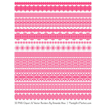 Mixed Lace Clipart Borders in Hot Pink