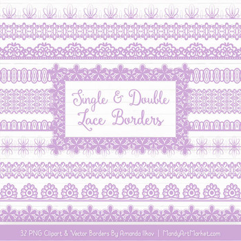 Mixed Lace Clipart Borders in Lavender